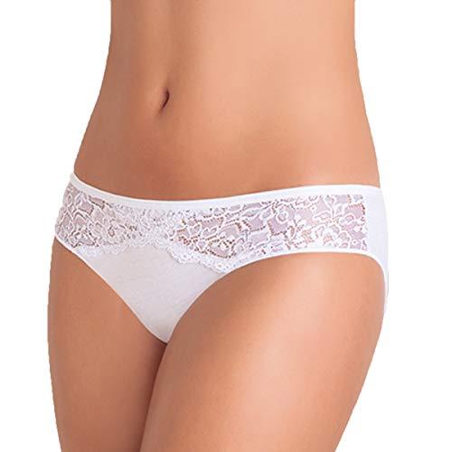 Confezione N. 6 Slip Mini Donna in Cotone BIELASTICO E Pizzo. Disponibile in Tre Varianti Colore - Bianco, Nero o Assortito.