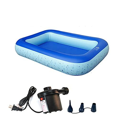 MTX-RM Rectángulo Piscina Hinchable, Gran Estanque De Pesca Al Aire Libre Pool Jardín De Verano Portátil Piscina Inflable (con Bomba De Aire),160cm