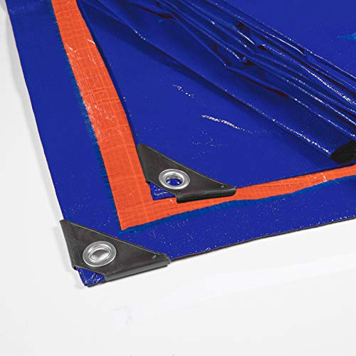 Floordirekt Abdeckplane | Gewebeplane | Schutzplane | Bootsplane | Zeltunterlage für Camping | Garten | wasserdichte Plane mit Ösen | Farbe: Blau-Orange (3x4 m (140 g/m²))