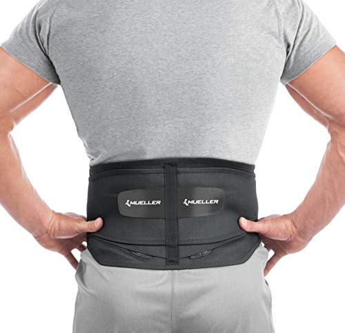 Mueller 255 Lumbar Support Back Brace with Removable Pad, Black,...