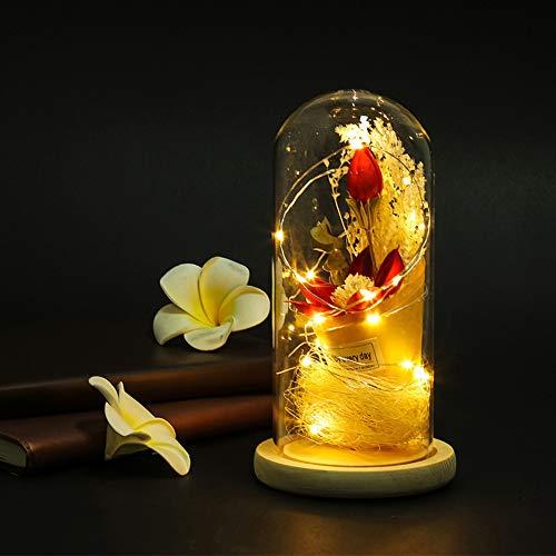 Glas Cover Bloem Lamp, Romantisch Mooi Glas Cover Bloem Nachtlampje, voor Decoratie Geschenken Thuis Restaurant, Sieraden Winkel(blue)