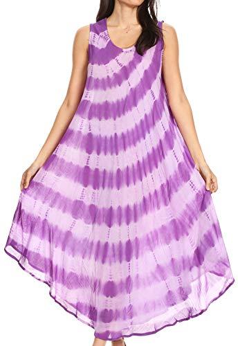 Sakkas 19253 - Neja Women's Casual Maxi Summer Sleeveless Loose Fit Tie Dye Tank Dress - Purple - OS