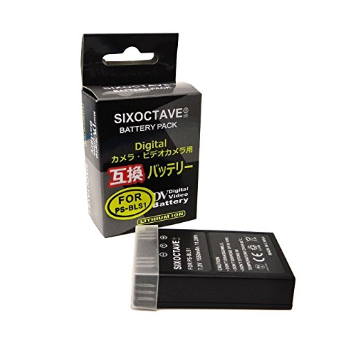 SIXOCTAVE BLS-1 互換 バッテリー オリンパス STYLUS 1/STYLUS 1s / OM-D E-M10 / OM-D E-M10 MARK II/PEN/PEN Lite E-P1 E-P2 E-P3 E-PL6 E-PL7 E-PL5 E-PM2 E-PL3 E-PL2 E-PM1 E-PL1s E-410 E-420 E-620 E-PL1 等対応