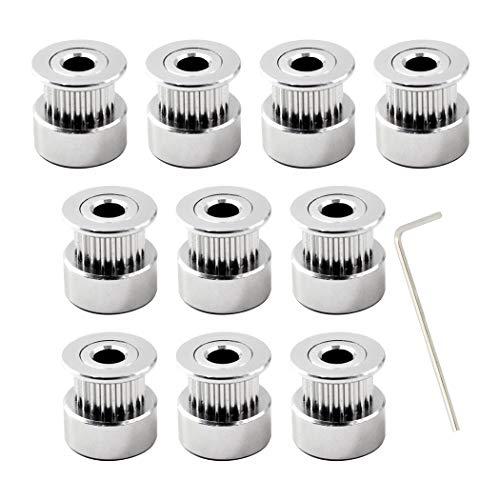 GT2 polea 20 dientes diámetro 5mm ancho de la correa 6mm para impresora 3d(Pack of 10,llave incluida)