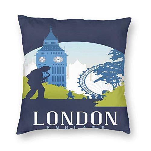 Sweet grape Funda de almohada cuadrada para cojín de saxofón y arquitectura de Londres, Inglaterra, con cremallera, 18 x 18 pulgadas