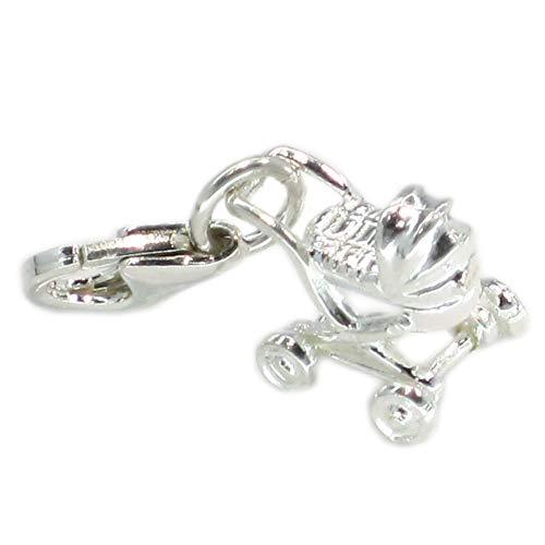 Abalorio de plata de ley con clip de eslabones de 925 x 1 cochecitos de paseo – SFP