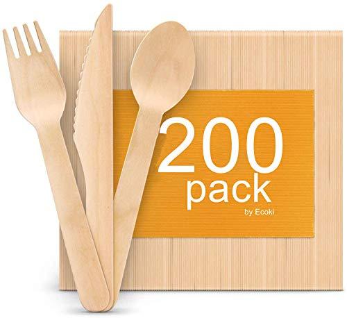 Ecoki 200 Stücke Hölzern Einwegbesteck, Umweltfreundlich Abbaubare - Ideal für Grillfeste, Geburtstage, Camping, Picknick (100 Holzgabeln, 50 Holzmesser, 50 Holzlöffel)