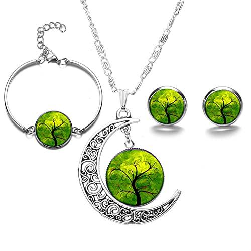 GDYJP Lindo árbol de la Vida Moonstone Bridal Jewelry Sets Moon Stud Jewelry Set Pendientes Pulsera Collar Conjuntos para Las Mujeres Regalos De Cumpleaños (Color : E)