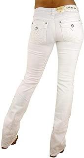 LA Idol Classic Rhinestone Studded White Denim Bootcut Jeans