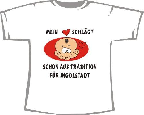 Mein Herz schlägt Schon aus Tradition für Ingolstadt; Kinder T-Shirt weiß, Gr. 7-8