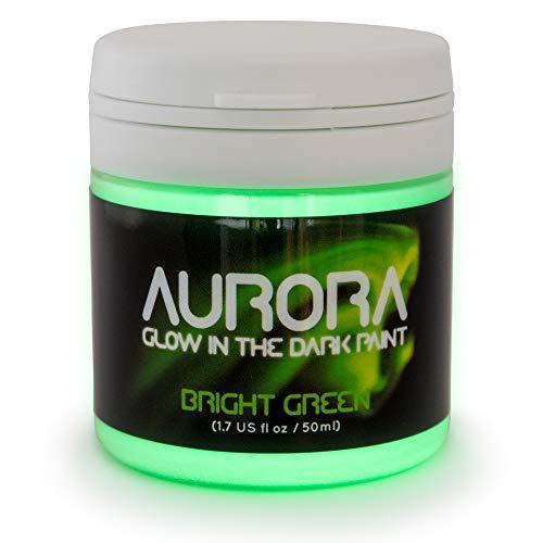 Pintura que Brilla en la Oscuridad (50ml) Aurora Verde Fuerte, No Tóxica, Base Acuosa, de SpaceBeams
