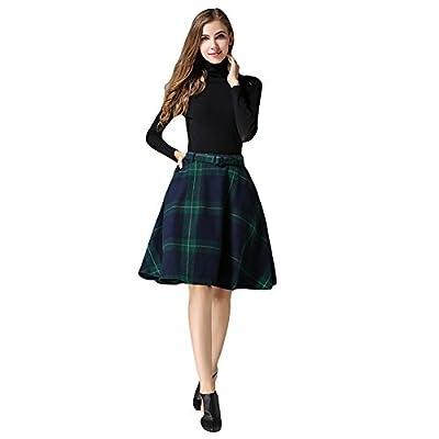 Women's High Waist Skater Skirt A-line Plaid Flare Midi Skirt