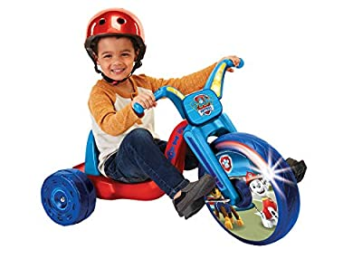 """Paw Patrol Kids Tricycle 15"""" Fly Wheels Junior Cruiser Ride-On, Pedal Powered Trike with Build-in Light On Both Sides of Big Wheel, for Kids Boys Girls Ages 3-7 Year Old by Jakks"""