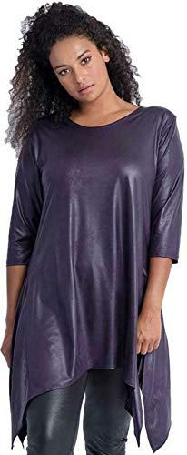 Magna Übergröße Kleid Tunika | Leder-Optik - Lila Größe 40/42