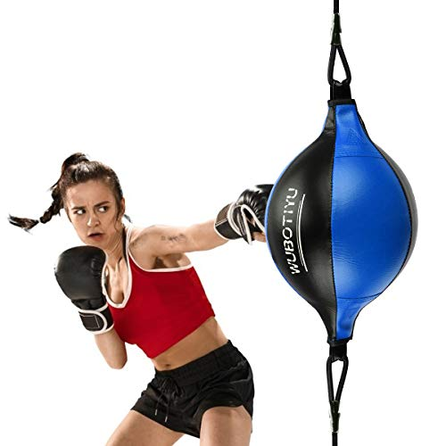 DricRoda Double End Bag for Boxing,Leather Hanging Punching Bag,Double End Speed Bag Punch Ball with Pump for Gym MMA Boxing Sport (Black Blue)