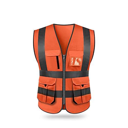 Festnight Reflektierende Sicherheitsweste, Hohe Sichtbarkeit Reflektierende Sicherheitsweste mit Taschen und Reißverschluss für Arbeiten im Freien, Radfahren, Joggen, Laufen, Sport
