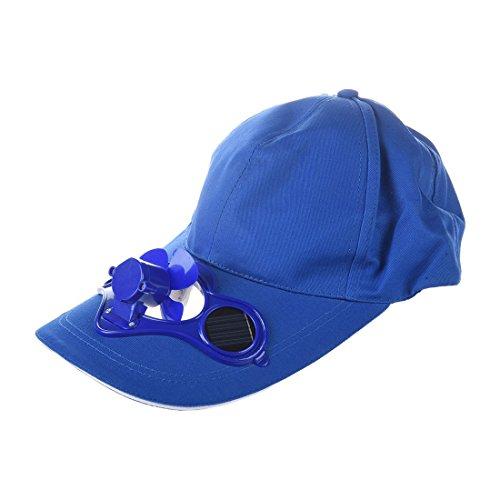 SODIAL(R)ete exterieur solaire Sun Power Chapeau de refroidissement cool Fan de Golf Baseball Sport - bleu
