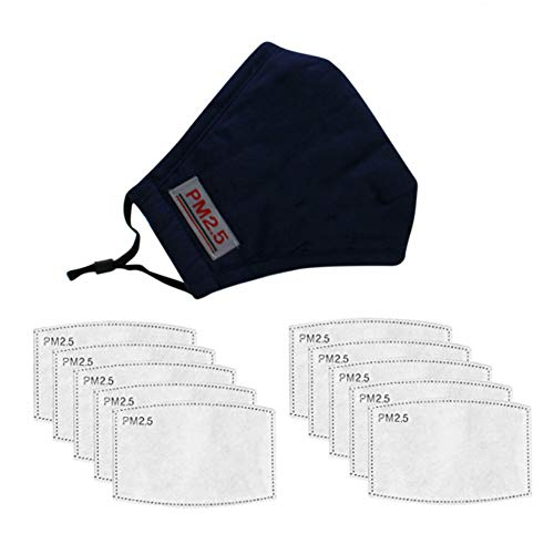 1 Adult Teens Cotton Mouth Cover & 10pcs Activated Carbon Inserts for Sports Outdoor Activities, Dark Blue