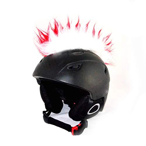 Helm-Irokese für den Skihelm, Snowboardhelm, Kinderskihelm, Kinderhelm, Motorradhelm oder Fahrradhelm - - Der HINGUCKER - Das Helm-Cover für Kinder und Erwachsene HELMDEKO (Rot-Weiß)