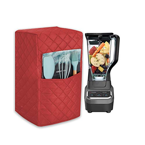 Quilted Blender Cover, Polyester Cotton Blender Appliance Cover, Kitchen & Dining Small Appliance Dust and Fingerprint Protection TFC437 (Red)