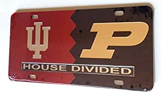 Indiana Hoosiers - Purdue Boilermakers - House Divided Mirrored Car Tag License Plate