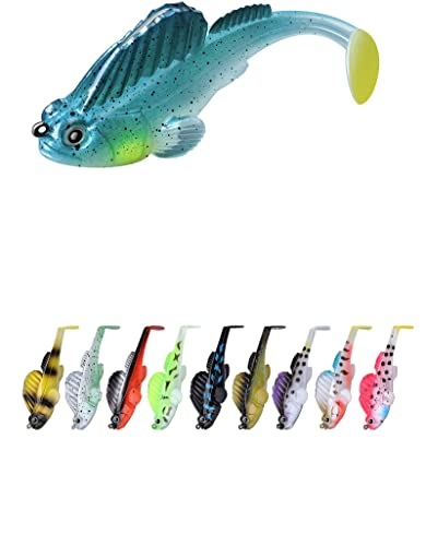 Fishing Lures for Bass, 10 Pcs Soft Swimbaits with Hidden Pre-Rigged...