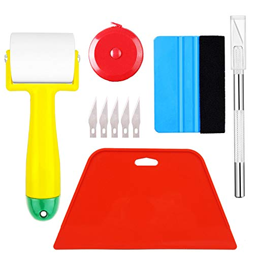 ECOmorning Wallpaper Tools Wallpaper Kit Wallpaper smoothing tool with Seam Roller, Hard Squeegee, Tape Measure, Craft Knife