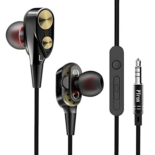 PTron Boom 2 Headphone 4D Deep Bass Stereo Earphone Dual Driver Sport Wired Headset with Mic for All Smartphones (Black/Gold)