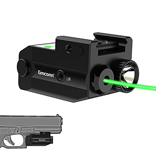 Gmconn Tactical Flashlight Green Laser Combo, Tactical Green Laser Sight and 350 Lumens Rechargeable Gun Light, Strobe Weapon Light Green Beams for Guns and Pistols with Picatinny Rail