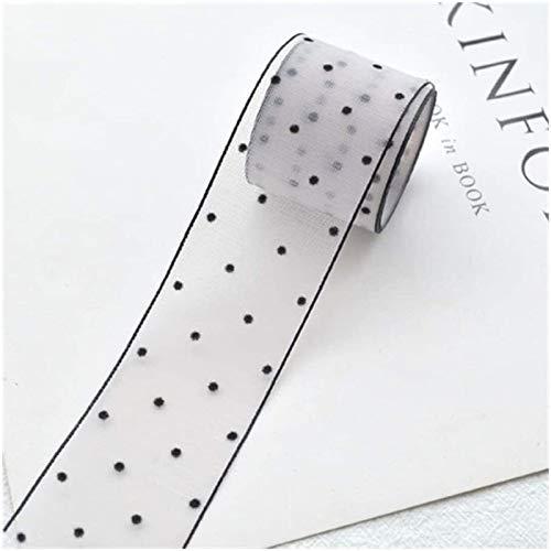 La cinta del cordón ancho de punto impreso Organza arte de DIY for el embalaje de ropa arco de costura de accesorios (Color: 38 mm color rosa) Plztou (Color : 38mm Gray)