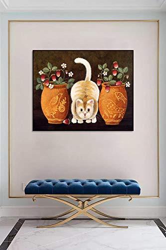 wojinbao DIY Digitale Malerei-Adult's Paint von Number Kits-Vase Cat Paint von Numberson Canvas Geschenk für Erwachsene und Kinder Geburtstag Hochzeit(40x50cmKein Rahmen)