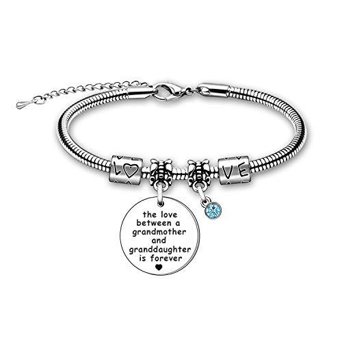 zyx Grandmother Granddaughter Bracelet Gift The Love Between a Grandmother and Granddaughter is Forever Bracelet Jewellery Birthday