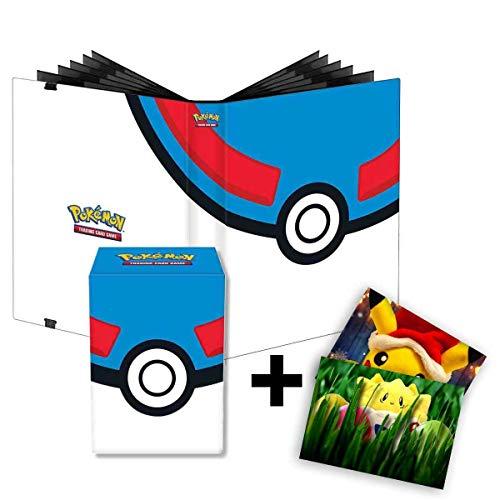 Lively Moments Pokemon Karten / Sammelkarten PRO-Binder mit 360 Fächer + Deckbox in Superball Optik im Bundle + Exclusive GRATIS Grußkarte