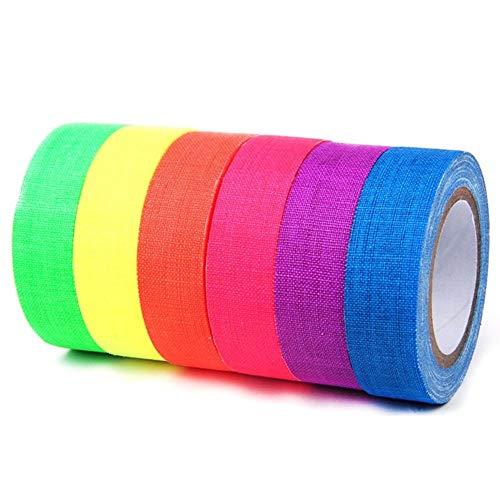 Mehrzweck Klebebänder UV Cotton Band 6pcs / Set Heavy Duty Spike Tape-Grade Fluorescent Gaffer Tap Art CraftNeon Band Easy for Floors reißen Stages Whiteboard No-Trace-Tape