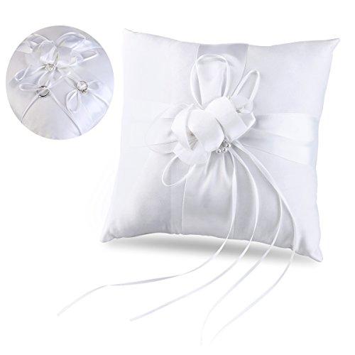 Tinksky Coussin pour alliances de mariage avec fleurs Ivoire 25 x 25 cm (blanc pur)