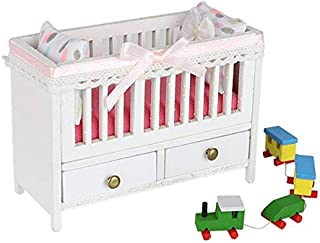 1:18 Scale Cool Beans Boutique Miniature Dollhouse Furniture DIY Kit – Baby Crib & Toy Train(Assembly Required) – DH-HD18-1181006Crib