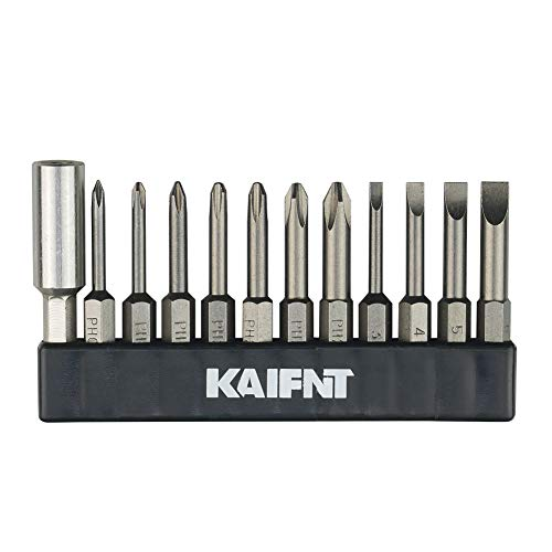 KAIFNT K456 Magnetic Phillips/Slotted Screwdriver Bit Set with Extension Bit Holder, Quick-Change 1/4-Inch Hex Shank, 12-Piece