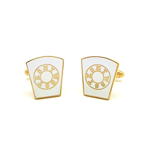 BOBIJOO Jewelry - Boutons de Manchette Franc Maçon Laiton Doré à l'or Fin Email Blanc Maçonnerie Masonic Freemason HTWSSTKS