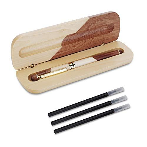YBEU-Penna a sfera in legno naturale fatta a mano, penna regalo di lusso, refill nero in inchiostro extra 3, set di penne regalo elegante ed elegante