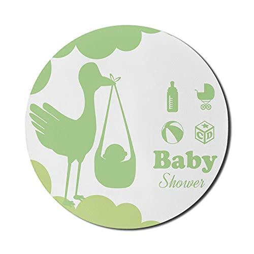 Grünes Mauspad für Computer, Silhouette eines Storchs, der eine Babyspielzeug-Kinderwagenmilchflasche und -kugel trägt, rundes rutschfestes dickes Gummi-modernes Gaming-Mauspad, 8 'rund, apfelgrün hel