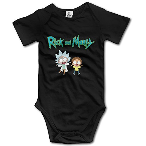 Baby Boys Girls Short Sleeve Rick And Morty Funny Bobysuit Onesie 12 Months Black