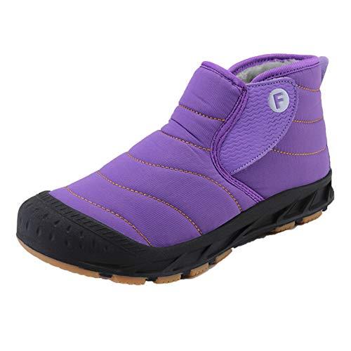 Zapatillas de Deporte para Hombre, Estilo Simple, Pegatina mágica para Mantener Calientes, Botas de Nieve, Pareja, cómodos Zapatos Planos de Invierno Impermeables para Exteriores
