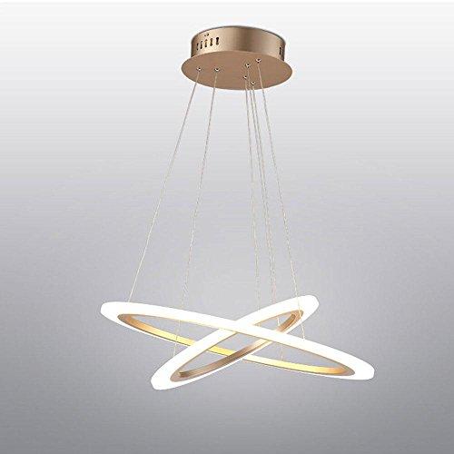 64W Leuchten LED Pendelleuchte 2 Ringe Moderne Design Weiß Hängeleuchte Aluminium Hängelampe Exklusiv Entwurf Höhenverstellbar Leuchter Kreative Rund Kronleuchter Ø60+40cm