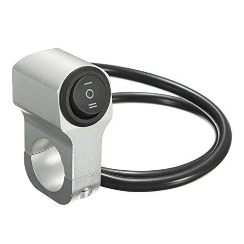 ooege OOE Motorario de aleación de Aluminio de 22 cm Interruptor Impermeable del Interruptor de la luz del Manillar 12V (Color : Silver)