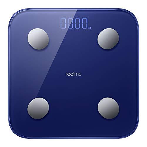 realme - Smart Body Composition, Báscula inteligente, bluetooth 5.0, Pantalla LED, Batería de larga duración: 360 días, 14 datos corporales y medición de la frecuencia cardiaca, Azul