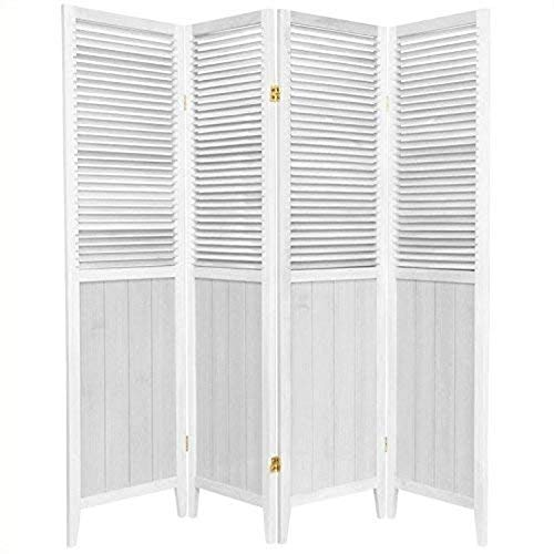 Oriental Furniture 6 ft. Tall Beadboard Divider - White - 4 Panels