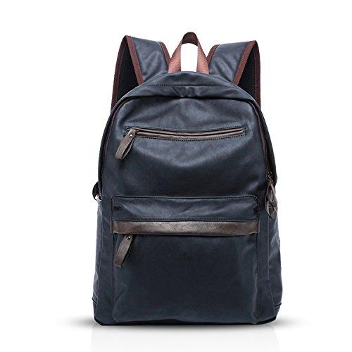 FANDARE Leisure Travel Backpack Student Commuter Business Backpack 15.6 Inch Laptop Rucksack Men/Women Waterproof PU Blue