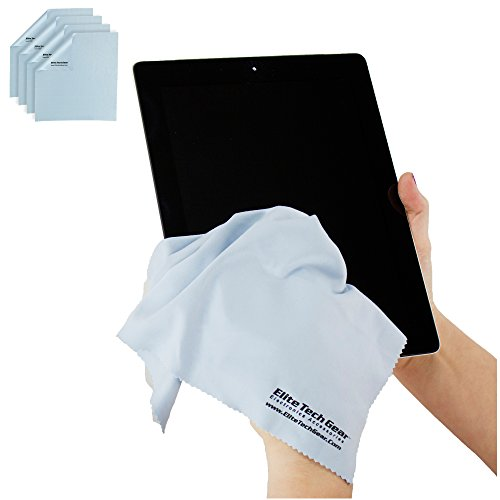 """Elite Tech Gear - 4-Pack Blue Oversized 12"""" x 12"""" Microfiber Cloths, The Most Amazing Microfiber Cleaning Cloths - Perfect for Cleaning All Electronic Device Screens, Eyeglasses & Delicate Surfaces"""