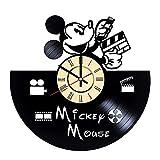 Reloj de pared Mickey Mouse Mickey Mouse vinilo Cloc arte de pared decoración del hogar habitación interior Mickey Mouse regalo redondo reloj vintage