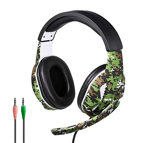 Gaming Headset for PS4, PC, Xbox One Controller, Noise Cancelling 3.5mm Wired Over Ear Headphones with Mic, Soft Earmuffs Adjustable Size for Home Office Online School Laptop Mac Phones